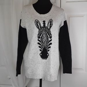 Kensie sz S zebra windowpane mixedmedia sweater